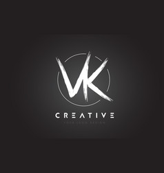 Vk brush letter logo design artistic handwritten vector