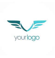 Wing emblem company logo vector