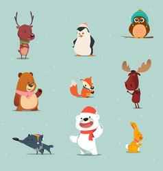 Winter animals cartoon set vector