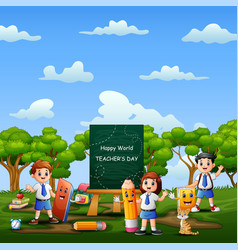world teachers day with happy student in uniform vector image