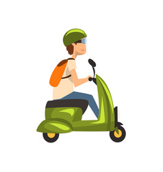 young man in green helmet riding scooter vector image