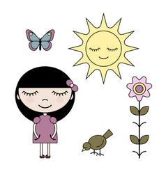 clip art set girl in summer garden vector image