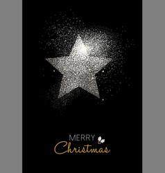 Merry christmas silver glitter star holiday card vector