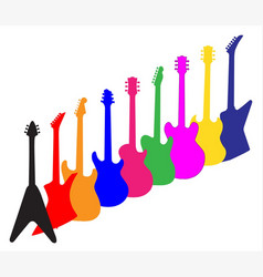 modern guitar silhouettes vector image vector image