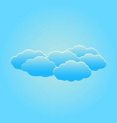 set of fluffy white clouds on the light blue sky vector image vector image