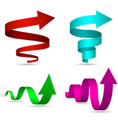 3D Spiral and Twisted Arrows Set vector image