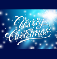 Christmas Card Merry Christmas lettering on a blue vector image vector image
