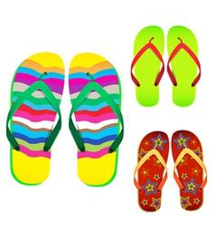 colorful flip flop vector image vector image