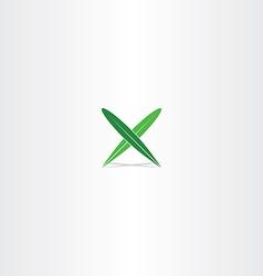 green leaf letter x logo element icon vector image