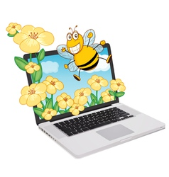 Laptop Bees vector image
