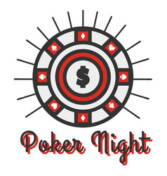 poker night banner big round vector image