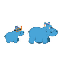 animals of zoo hippo family in cartoon style vector image