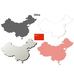 China outline map set vector image vector image