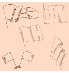 Flags sketch Pencil drawing by hand Vintage vector image