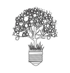 grayscale contour with light bulb base with leafy vector image vector image