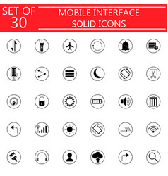 mobile interface solid icon set vector image vector image