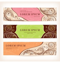 set of floral retro banners vector image