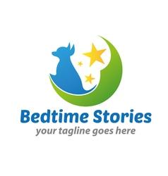 Bedtime stories logo vector