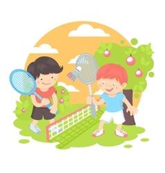 Boys playing badminton vector image vector image