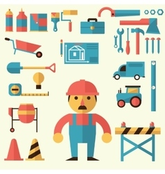 Builders icons set vector image vector image