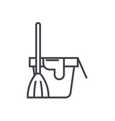 cleaning servicebucket with a broom line vector image