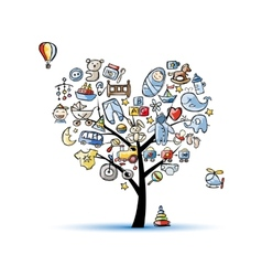 Heart shape tree with toys for baby boy vector image vector image