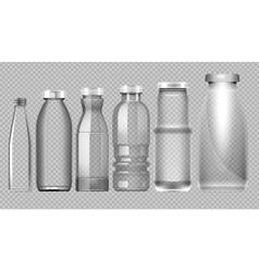 set of transparent glass jar bottle vector image