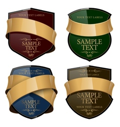 Shiny Wine Label with a gold ribbon vector image