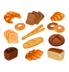various types of baked goods realistic style vector image vector image