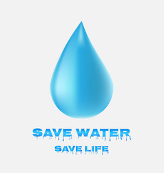 water drop icon save water save life vector image vector image