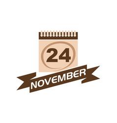 24 november calendar with ribbon vector