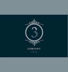 3 three blue decorative monogram number numeral vector