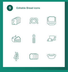 9 bread icons vector image