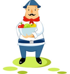 a farmer with a bowl of apples vector image