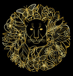 a panther and plants golden tropical pattern vector image