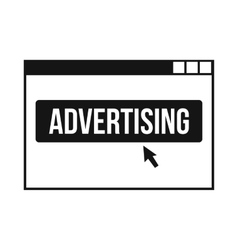 AD on a computer monitor icon simple style vector image