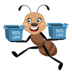 ant with boxes on white background vector image