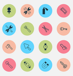 apparatus icons set with tomahawk garden fork vector image