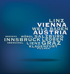 Austria map made with name of cities vector image