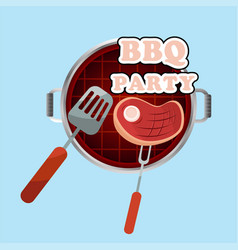 bbq party meat on the grill background imag vector image