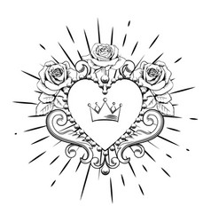 beautiful ornamental heart with crown and roses in vector image