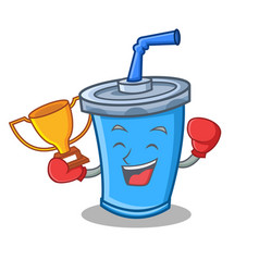 boxing winner soda drink character cartoon vector image