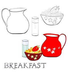 Breakfast with corn flakes vector