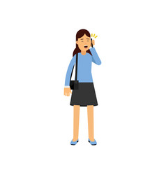 brunette girl talking by phone female student vector image