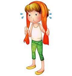 cartoon sweaty girl vector image