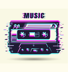 Cassette with glitch effect vector