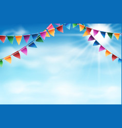 celebrate banner on sunny blue sky with clouds vector image