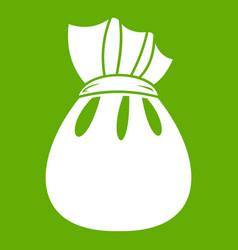 christmas bag of santa claus icon green vector image