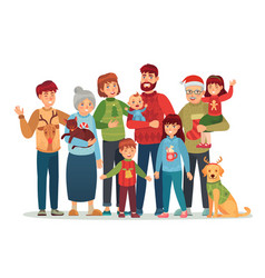 christmas family portrait happy xmas holiday vector image