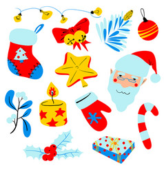 christmas set with decoration objects isolated vector image